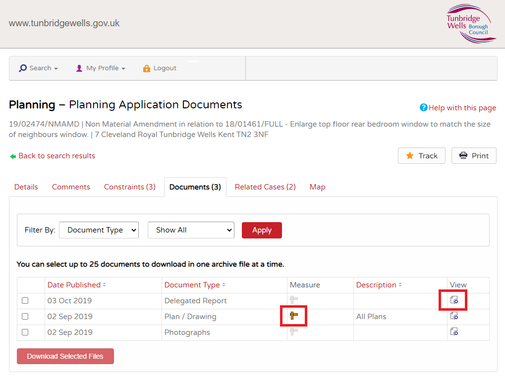 An image of the documents screen in the Planning Portal with the view document and measure document options highlighted.