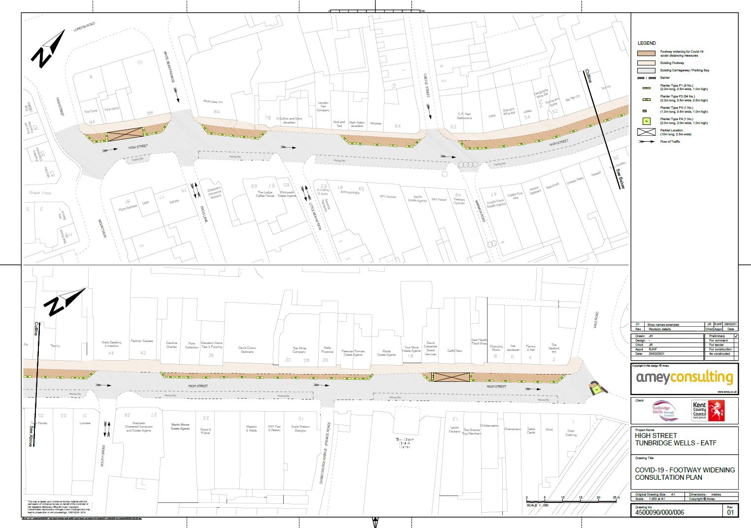 Image showing the High Street consultation plan map for Royal Tunbridge Wells