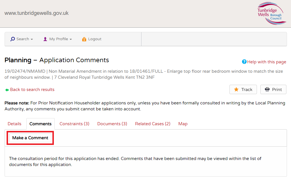 Image highlighting the button to make a comment on a planning application