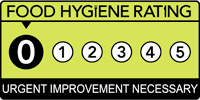 Food hygiene rating scheme score zero