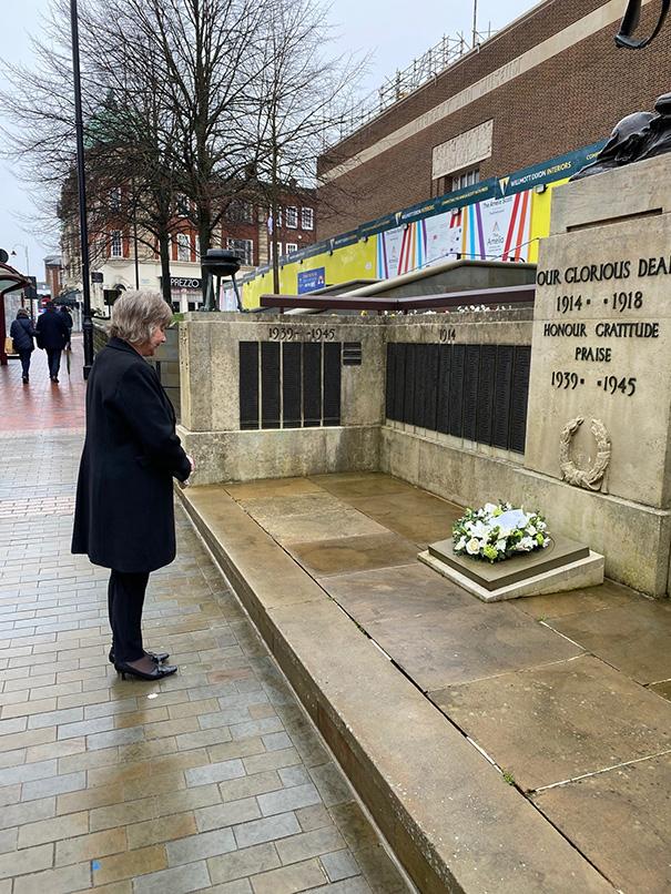 The Mayor of Tunbridge Wells, Councillor Joy Podbury at the War Memorial in Royal Tunbridge Wells