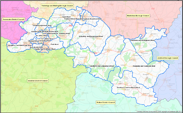 A map showing the wards within the borough of Tunbridge Wells
