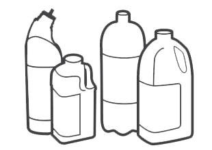Plastic bottles clear or coloured (eg cleaning product bottles)