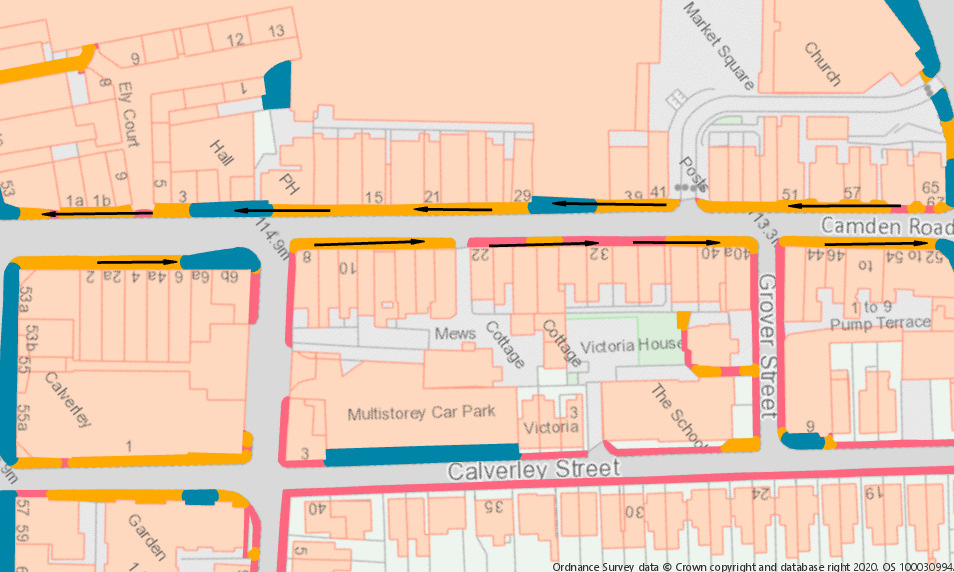 Map of Camden Road showing one way footpaths