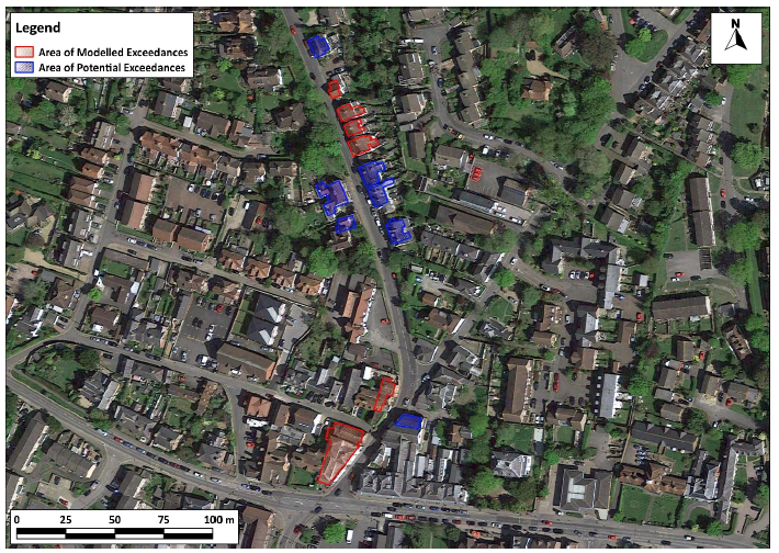 Properties located along Cranbrook Road with modelled and potential exceedances