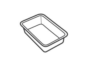 Black plastic trays