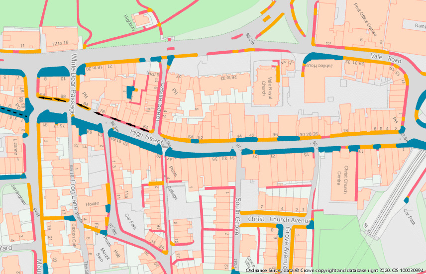 Map of the High Street showing one way footpaths