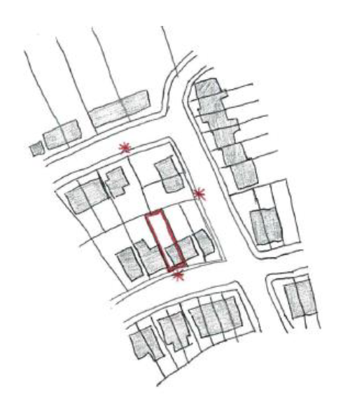 As there are adjacent properties to the application site which are on the parallel road to the rear, and the road to the side, three site notices will be placed as shown in the diagram.