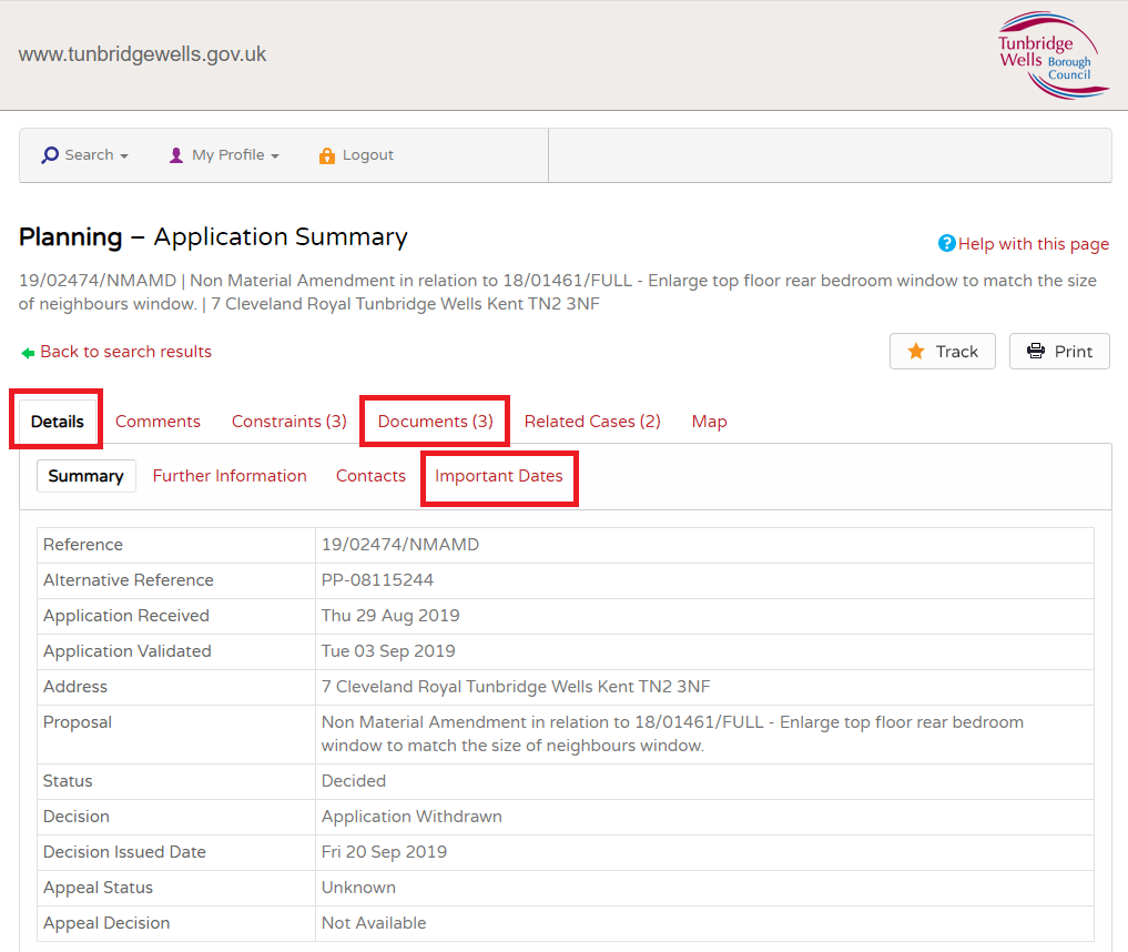 An image showing the planning portal application details screen and highlighting the details, documents and important dates tabs.