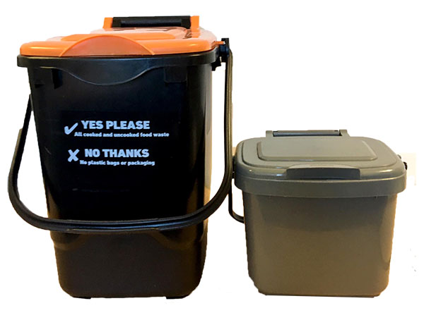 23L orange and black food waste bin and a 5L kitchen caddy