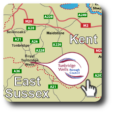Map of Kent showing Tunbridge Wells